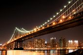 manhattan bridge and manhattan skyline at night new york city poster