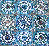 Oriental tiles - detail from Topkapi palace in Istanbul (nine peaces) poster