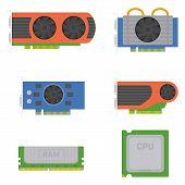 Computer elements - graphics cards, RAM, processor. Vector set. poster