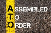 Concept image of Business Acronym ATO Assembled To Order written over road marking yellow paint line poster