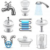 Plumbing icons detailed photo realistic vector set poster