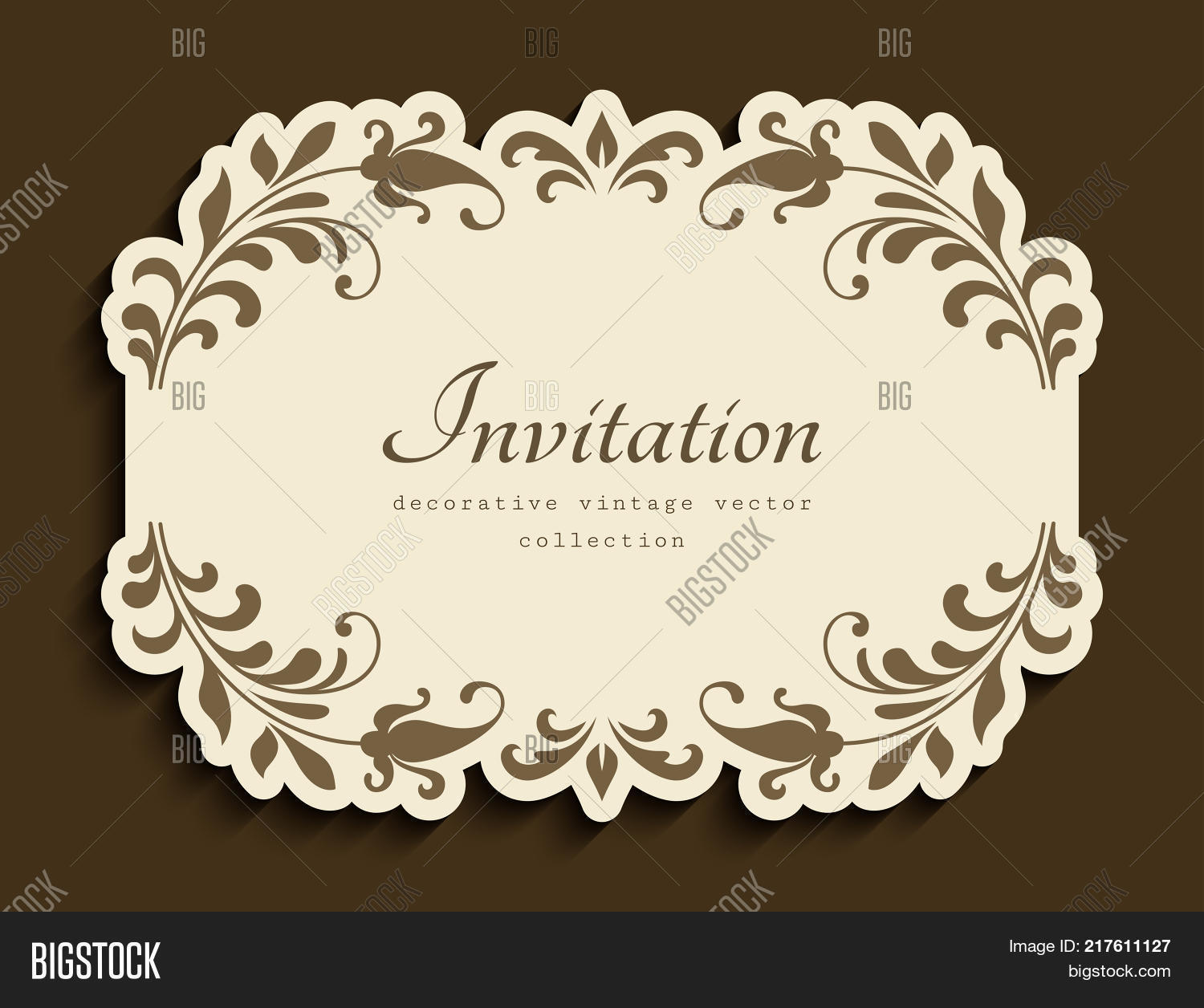Vintage vignette vector photo free trial bigstock vintage vignette with floral decoration and cutout paper border vector embellishment wedding announcement or stopboris