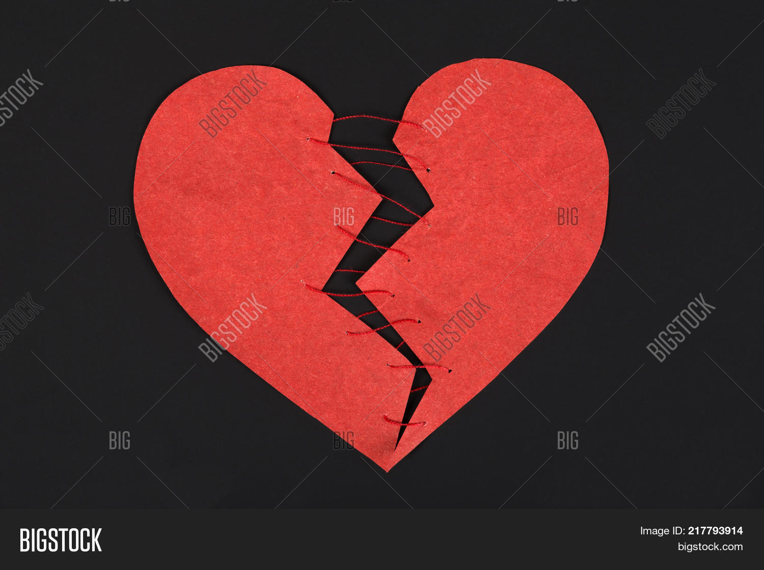 Broken heart copy space stitched image photo bigstock broken heart copy space stitched paper red heart a symbol of restored love buycottarizona Image collections