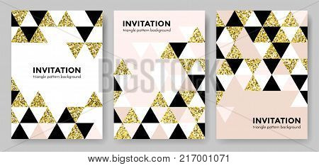 Golden Abstract Geometric Pattern Tile Background With Gold Glittering Mesh Texture. Vector Seamless