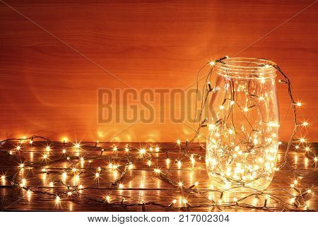 String of Fairy Lights in Glass Jar