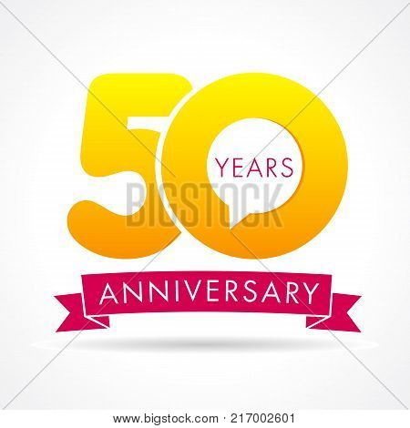 50 years anniversary communication logo. 50th year birthday logotype label, yellow vector number sign and pink ribbon isolated