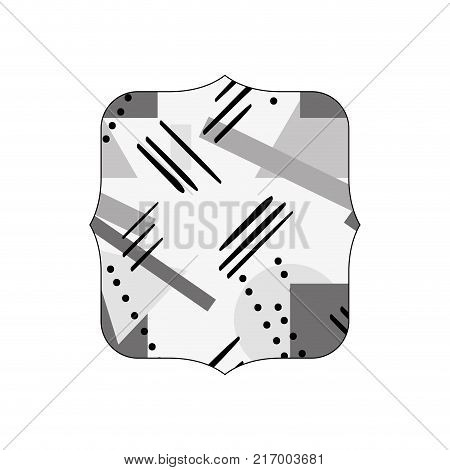 grayscale quadrate with figures geometric style background vector illustration