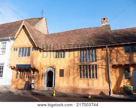 old english winter sunlit old manor cottage house Lavenham; essex; england; uk