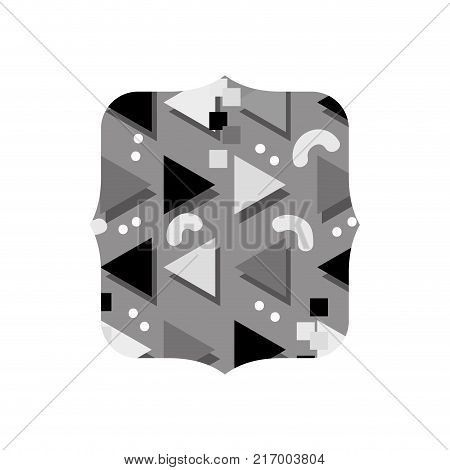 grayscale quadrate with style memphis graphic background vector illustration
