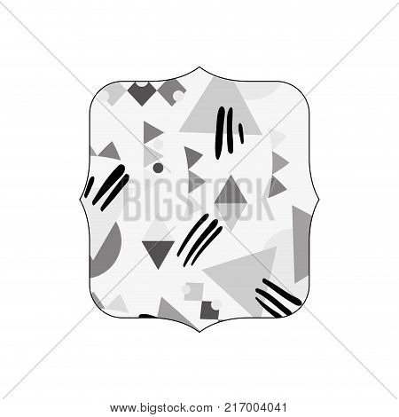 grayscale quadrate with memphis geometric style background vector illustration