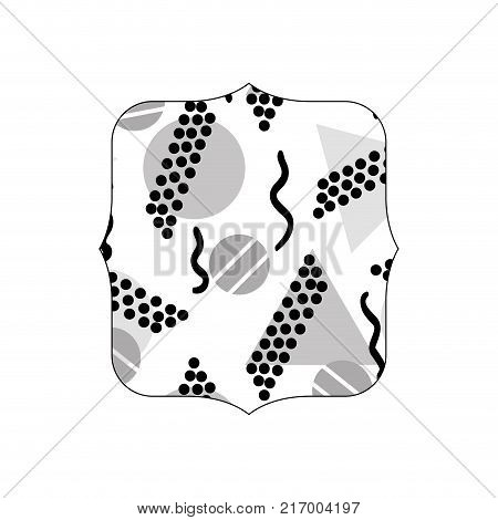grayscale quadrate with memphis geometric figures background vector illustration