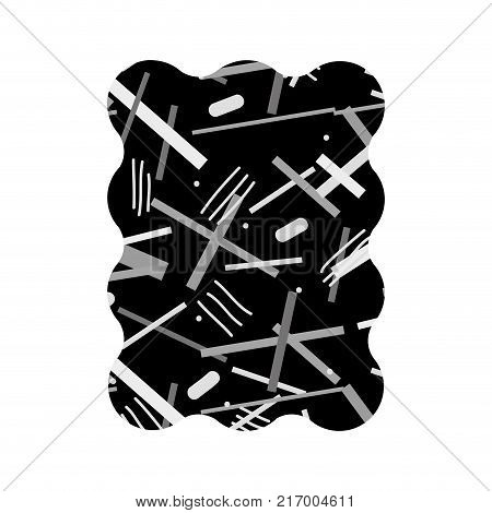 contour grayscale rectangle with geometric figure style background vector illustration