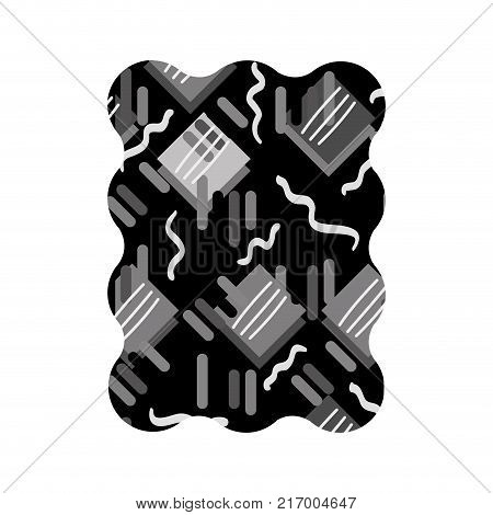 contour grayscale rectangle with graphic memphis geometric background vector illustration