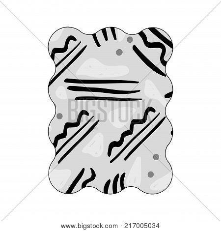 contour grayscale rectangle with geometric memphis figure background vector illustration