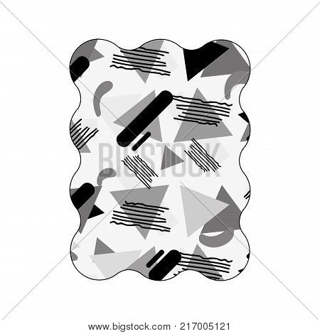 contour grayscale rectangle with style geometric memphis background vector illustration
