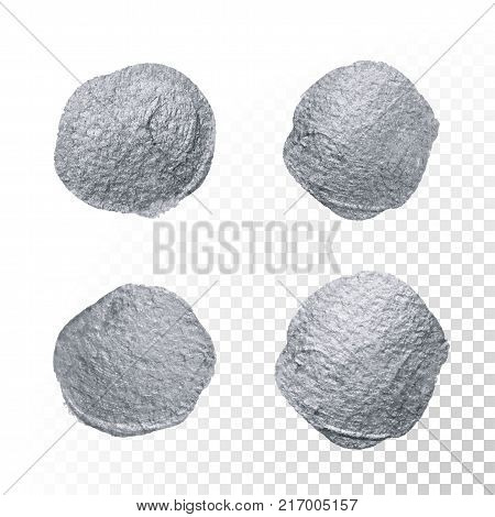 Silver glitter paint brush stain or abstract dab smear with smudge texture on transparent background. Isolated glittering and sparkling silver paint ink paintbrush splash circle for luxury design poster
