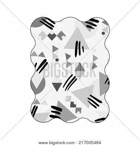 contour grayscale rectangle with memphis geometric style background vector illustration