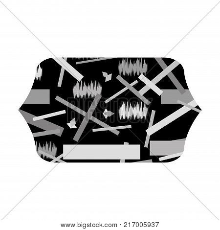 grayscale contour rectangle with abstract figures memphis background vector illustration