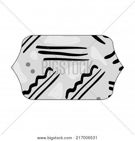 grayscale contour rectangle with geometric memphis figure background vector illustration