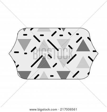 grayscale contour rectangle with graphic figure memphis background vector illustration