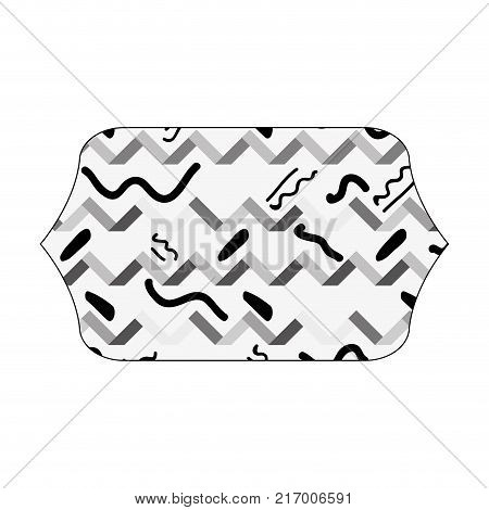 grayscale contour rectangle with memphis graphic figures background vector illustration
