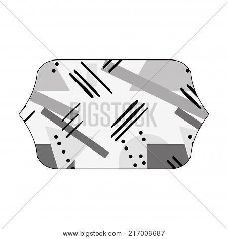 grayscale contour rectangle with figures geometric style background vector illustration