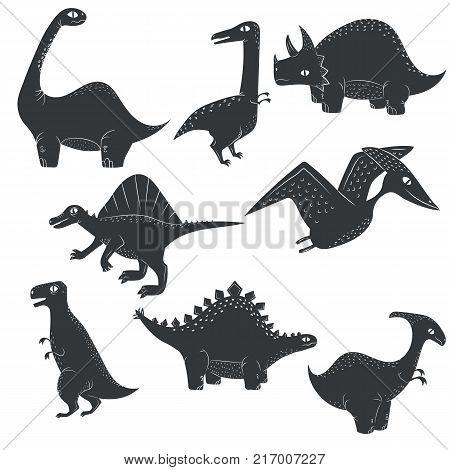 Vector dinosaur silhouette. Dino flat illustration set isolated on white background