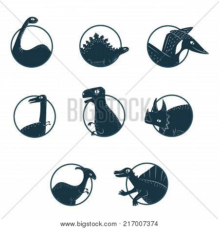 Vector dinosaur silhouette emblem collection. Dino flat logo set white background isolated.