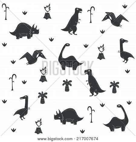 Vector dinosaur pattern. Dino seamless prehistoric plants white background