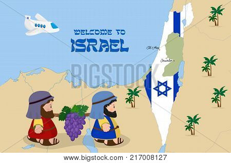 Welcome to Holy Land, map of Israel with flag and cartoon characters of Two spies of Israel carrying grapes