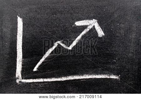 White color hand drawing chalk in arrow up shape on black board background (Concept of revenue increase stock or business growth)