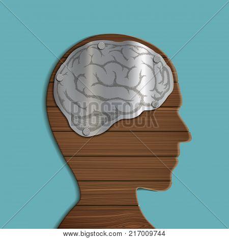 Metal brain inside the wooden human head. Internal anatomical organ. Stock vector graphics.