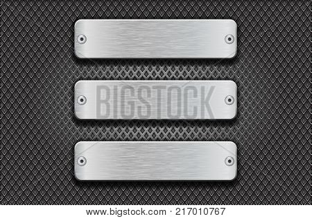 Metal rectangular brushed plates with rivets on perforated background. Vector 3d illustration
