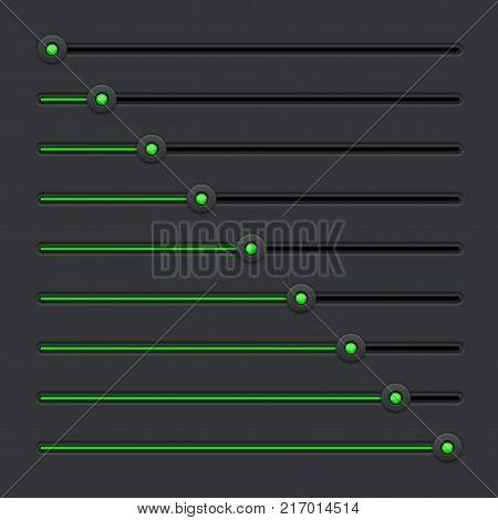 Slider bar. Black interface control panel with green color. Vector 3d illustration