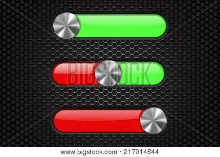 Control panel with black slider bar. Green and red on black perforated background. Vector 3d illustration