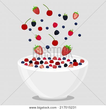 Abstract vector icon illustration logo for berries in bowl splash of drop white milk. Milk pattern consisting of bowls is filled with berry strawberry cherry raspberry. Eat milky breakfast in Bowl.