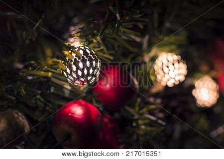 Christmas apples with jingle bells on Garland.