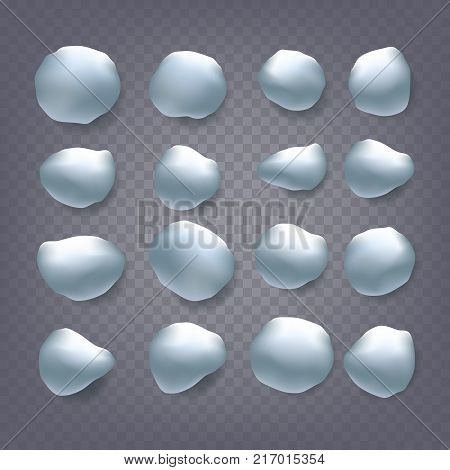 Snowballs Vector. Holidays Christmas Design. Strewn Snow. Frozen Ice. Snow Cap. Snowball. Isolated On Transparent Background Illustration