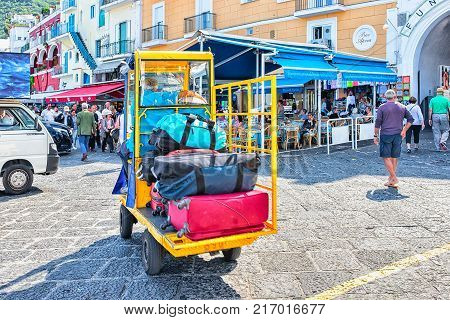 Capri Italy - October 3 2017: Car carrying luggage bags on Capri Island Italy