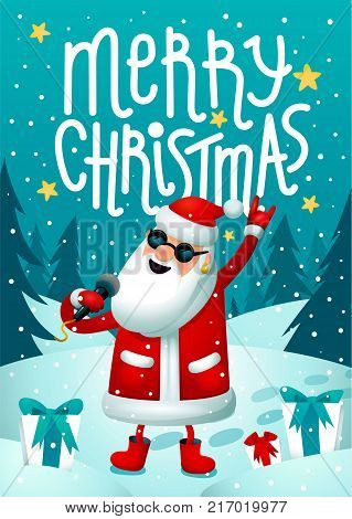 Rock-n-roll Santa. Singing Santa Claus - rock star with microphone on blue christmas background. Christmas hipster poster for party with Merry Christmass inscription. Xmas greeting card. Vector illustration.