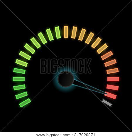 Industrial gauge scale on black background. Maximum level. Vector illustration