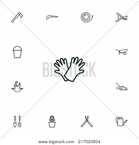 Collection Of Instruments, Safer Of Hand , Arm-Cutter Elements.  Set Of 13 Horticulture Outline Icons Set.