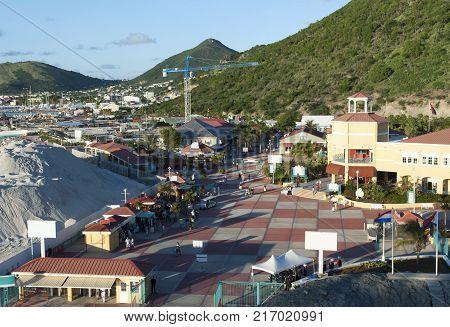 The view of Philipsburg town tourist village in a sunset light (Sint Maarten island Netherlands Antilles).