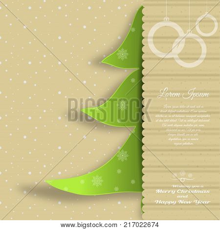 Vector cardboard art for Merry Christmas and Happy New Year with insert in the form of a green Christmas tree cut from paper with pattern text on the background with snowfall pattern.