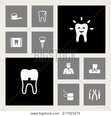 Collection Of Halitosis, Toothpaste, Dental Crown And Other Elements.  Set Of 10 Dental Icons Set.