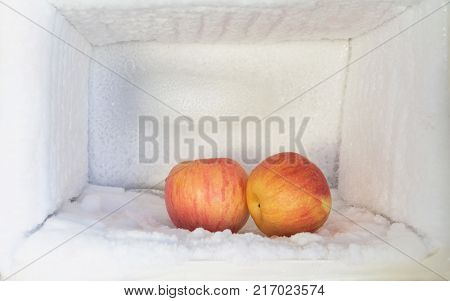 Red apple in freezer of a refrigerator. Ice buildup inside of a freezer walls.