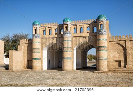 Northern gate of the fortress of Dishan-Kala outer town of Khiva Uzbekistan