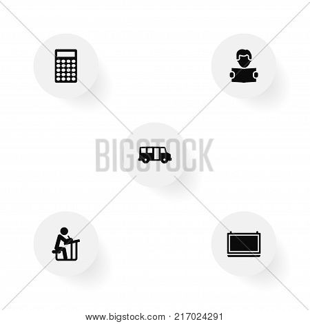 Collection Of Blackboard, School Autobus, Reading And Other Elements.  Set Of 5 Science Icons Set.