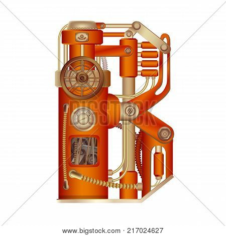 The letter B of the Latin alphabet, made in the form of a mechanism with moving and stationary parts on a steam, hydraulic or pneumatic draft. Isolated freely editable object on white background.