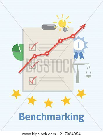 Benchmarking concept illustration. Comparing one's business processes and performance metrics to best practices from other companies. A sheet of paper with checkboxes, upward graph. Vector.